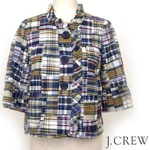 J. Crew Madras Plaid Blazer with Ruffle Sz 2